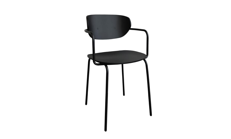 HÜBSCH Stol Trä/Metall Svart